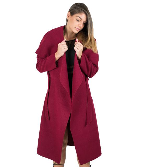 Παλτό με ζώνη Μπορντό ρούχα   πανωφόρια   σακάκια   παλτό