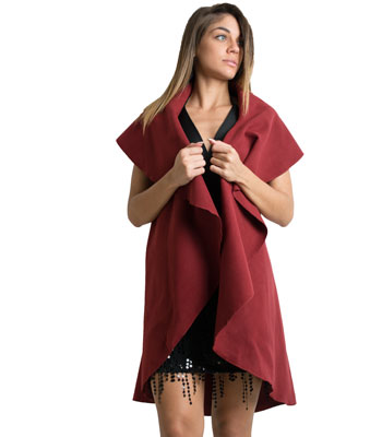 Sleeveless coat (burgundy)