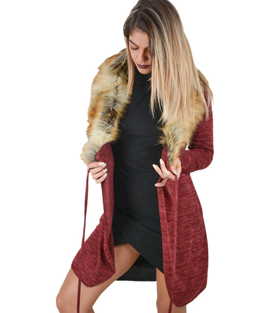 Knitted cardigan with faux fur (Burgundy)