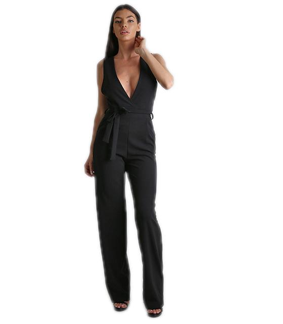 Ολόσωμη φόρμα με βαθύ ντεκολτέ και ζώνη Μαύρη