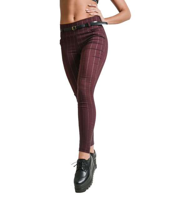Silver stripe trousers (Burgundy)
