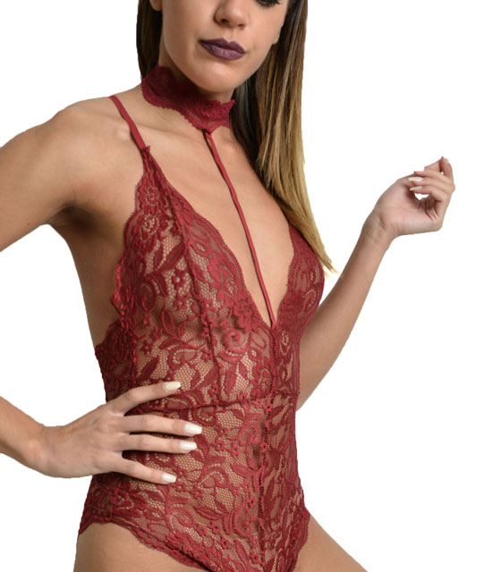 Lace bodysuit with choker Burgundy