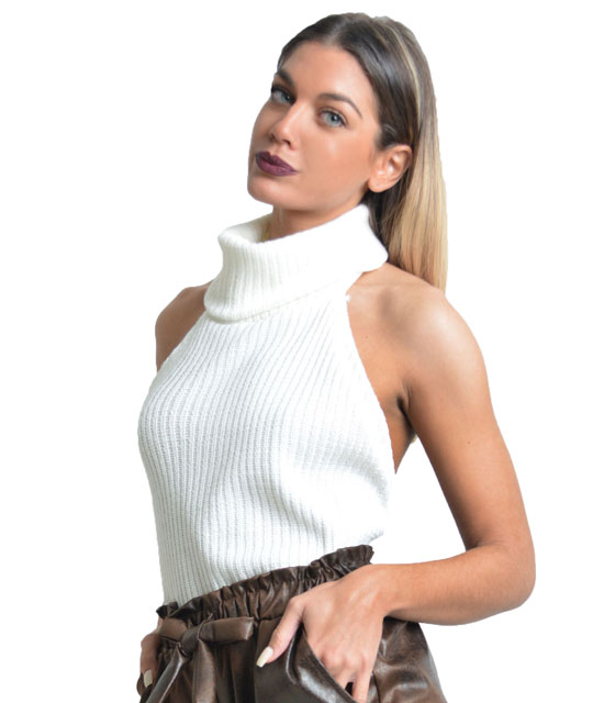 Knitted open back sleeveless top White