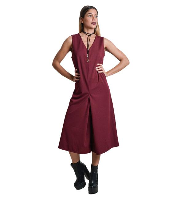 Αμάνικη ολόσωμη ζιπ κιλότ (Μπορντό) ρούχα   ολόσωμες φόρμες