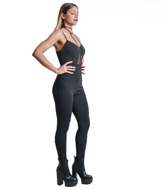 Ολόσωμη φόρμα με διαφάνεια στο μπούστο μαύρο ρούχα   ολόσωμες φόρμες