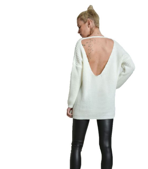 Knitted blouse with deep vest back white