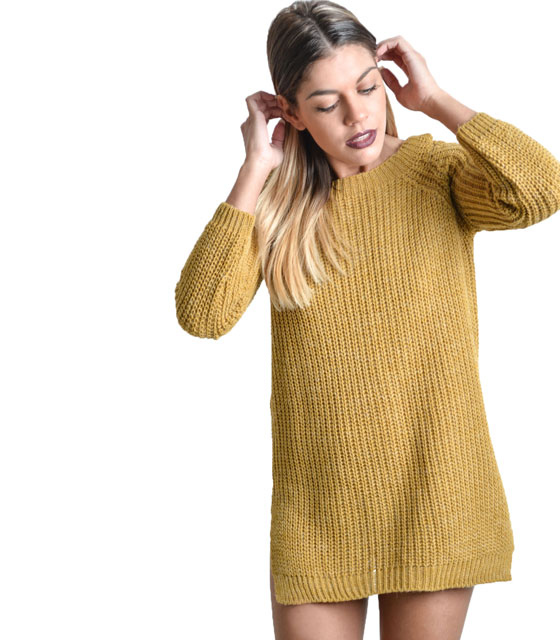 Knitted blouse with cuts on shoulders (Yellow)