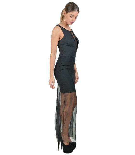 Μάξι φόρεμα με λεπτομέρειες διαφάνεια ρούχα   φορέματα