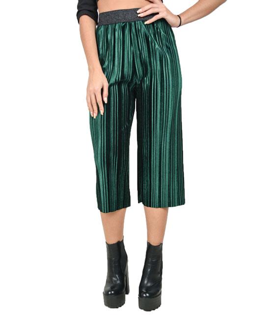 Πλισέ ζιπ κιλότ βελούδο (Πράσινη) ρούχα   bottoms   παντελόνια