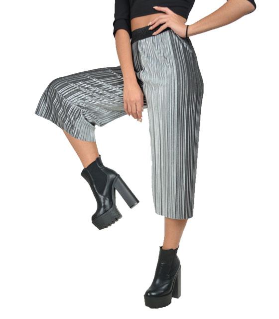 Πλισέ ζιπ κιλότ βελούδο (Γκρι) ρούχα   bottoms   παντελόνια