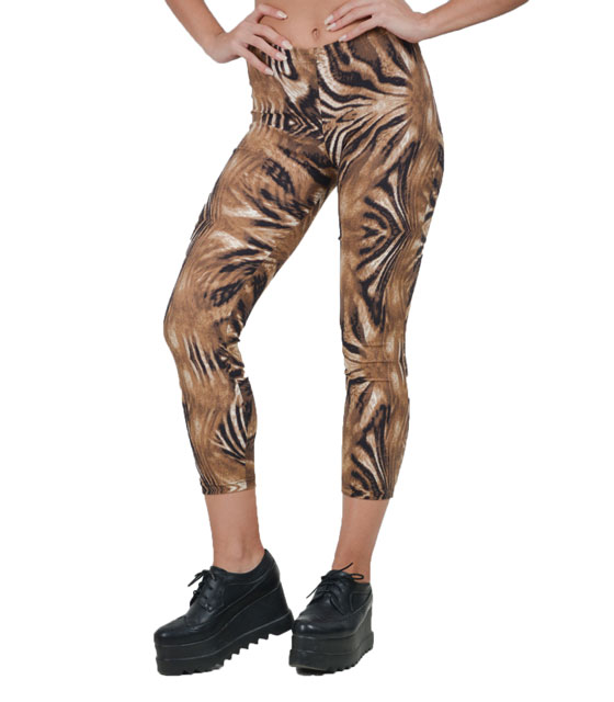 Leggings tiger print brown