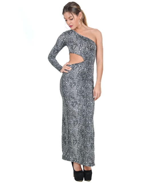 Long dress leopard with a long sleeve, open at the waist and slit side (Grey)