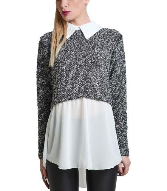 Knitted shirt with collar (Grey)