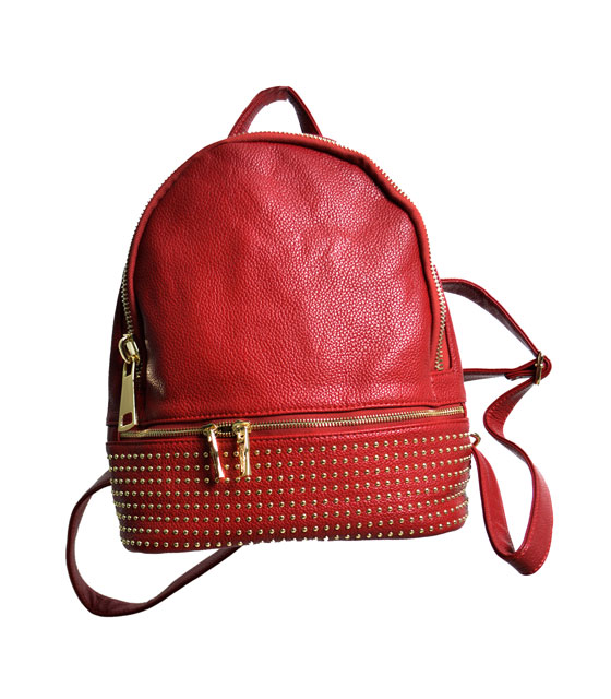 Backpack with gold studs (Burgundy)