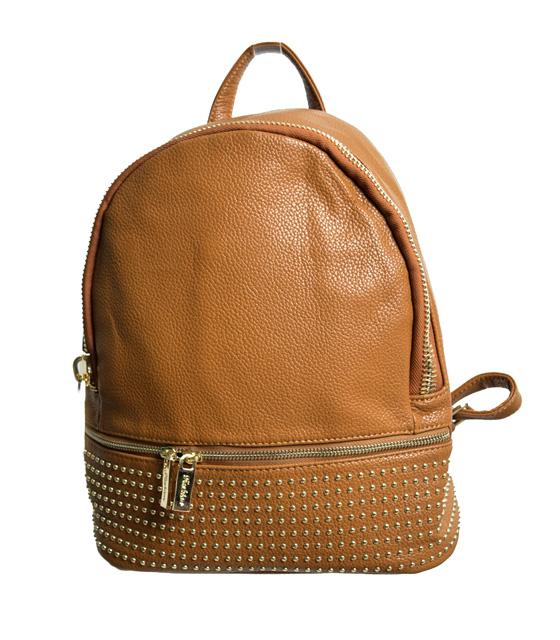 Τσάντα πλάτης με χρυσά τρούκς (Κάμελ)