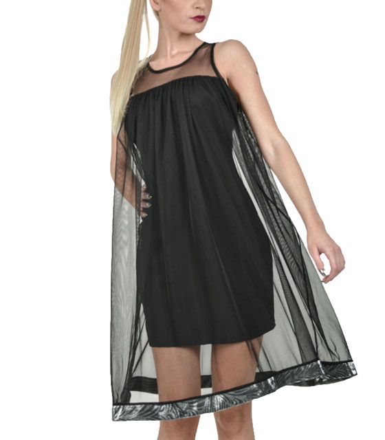 Black mesh dress with silver trim