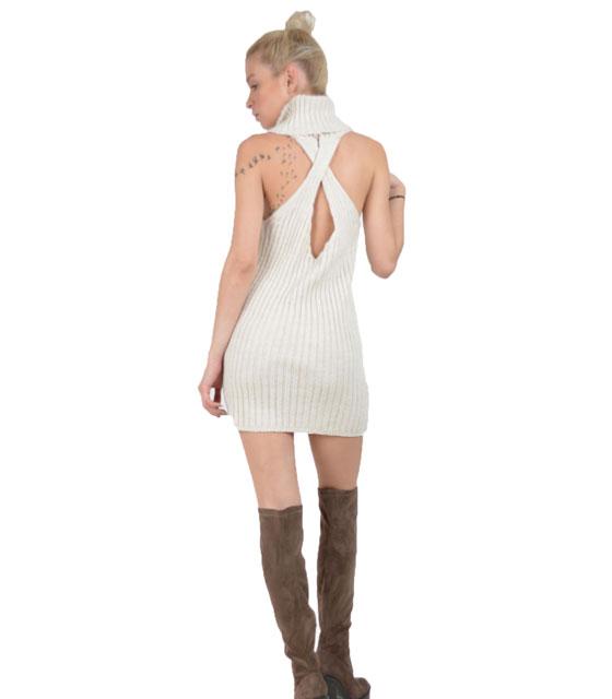 Αμάνικο πλεκτό φόρεμα με χιαστή πίσω (Μπεζ)