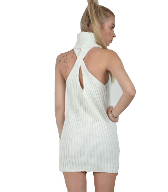 Αμάνικο πλεκτό φόρεμα με χιαστή πίσω (Λευκό)