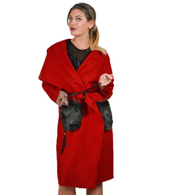 Παλτό με γούνινες τσέπες (Κόκκινο)