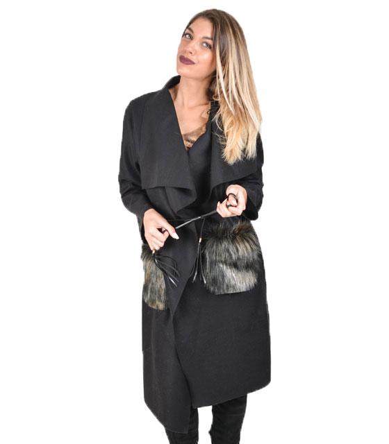 Παλτό με γούνινες τσέπες (Μαύρο)