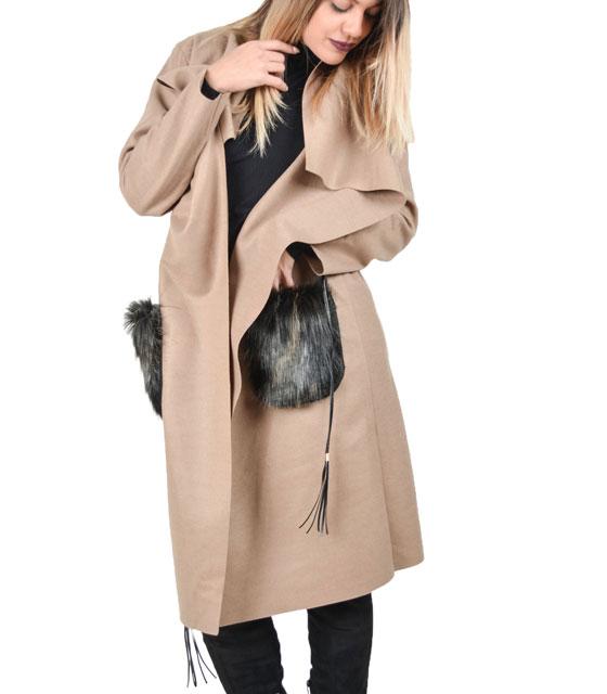 Παλτό με γούνινες τσέπες (Μπέζ)