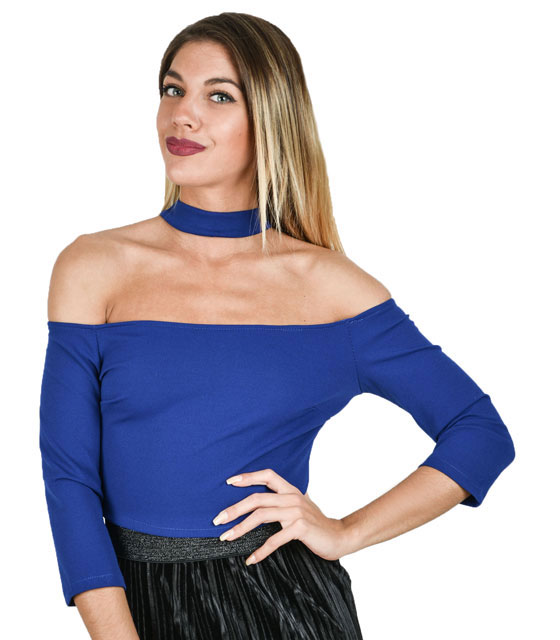 Bardot Top with choker (blue)