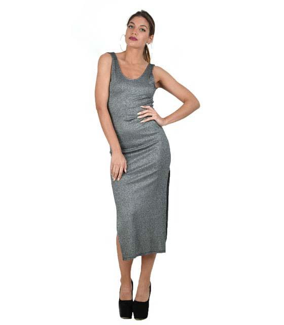 Αμάνικο εφαρμοστό φόρεμα με ανοίγματα (Γκρί σκούρο)