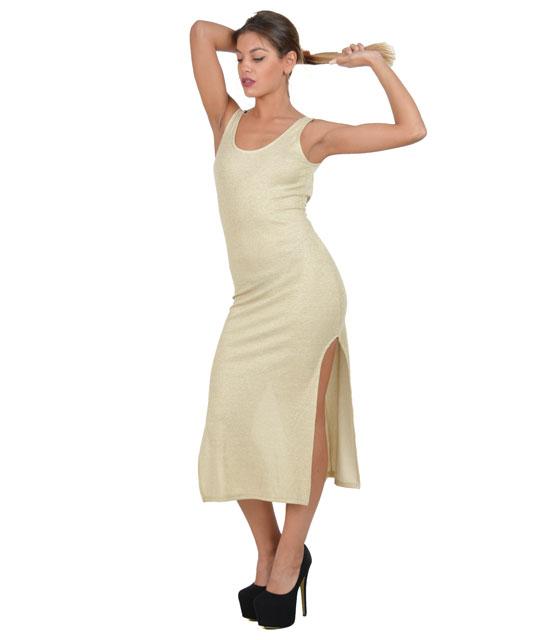 Αμάνικο εφαρμοστό φόρεμα με ανοίγματα (Μπεζ)