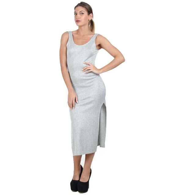 Αμάνικο εφαρμοστό φόρεμα με ανοίγματα (Γκρί)
