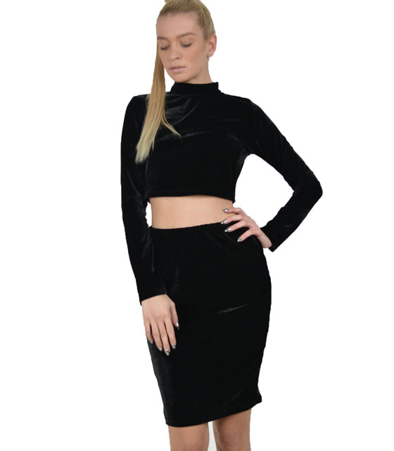 Velvet set top - skirt (Black)