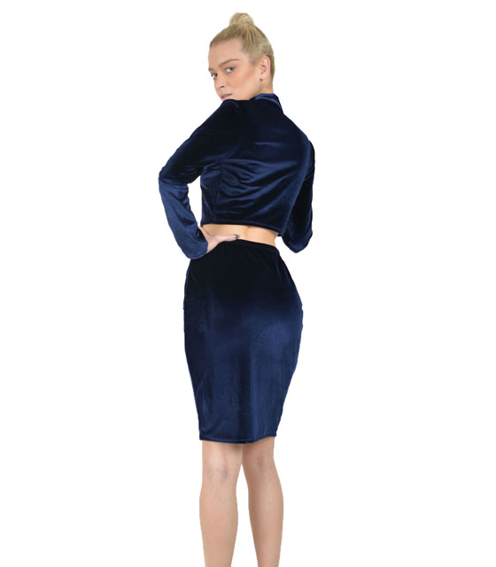 Velvet set top - skirt (Blue)