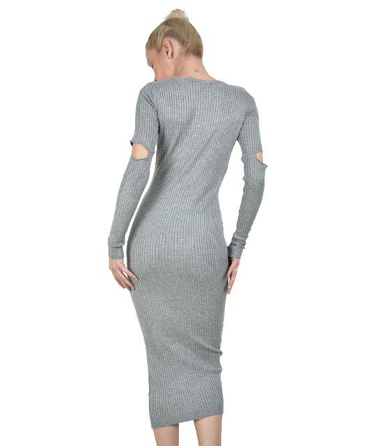 Πλεκτό φόρεμα με άνοιγμα στους αγκώνες Γκρι