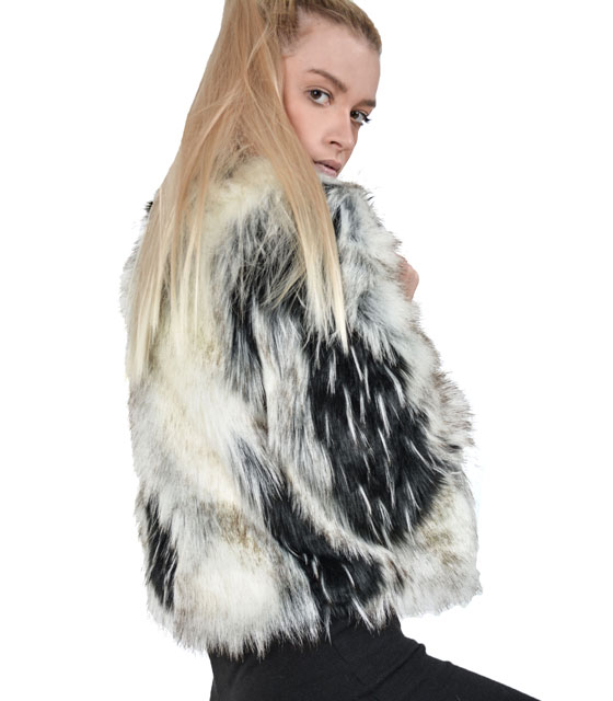 Black and white faux fur