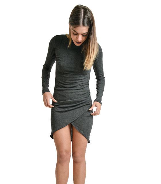 Ασύμμετρο εφαρμοστό φόρεμα ζιβάγκο Γκρι
