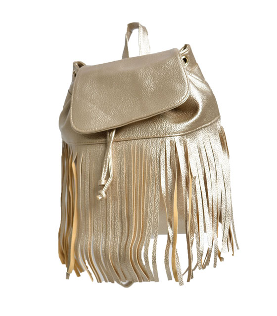 Τσάντα πλάτης με κρόσια Χρυσό