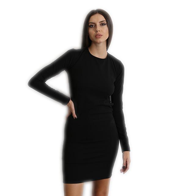 Έφαρμοστό μακρυμάνικο φόρεμα με ανοιχτή πλάτη Μαύρο ρούχα   φορέματα