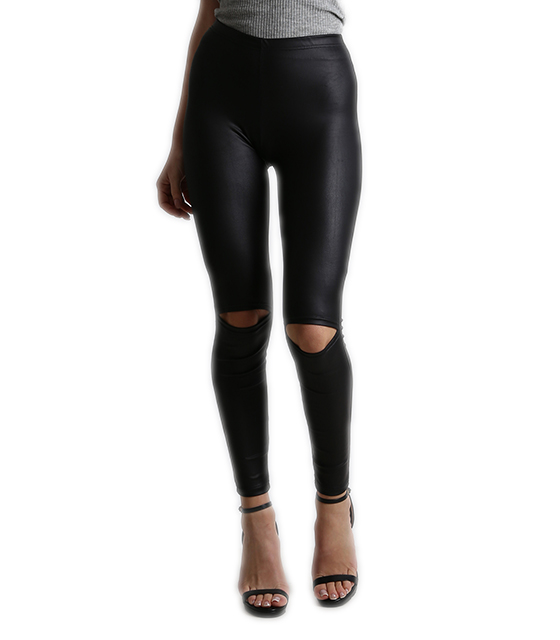 Faux leather leggings with knee cut Black