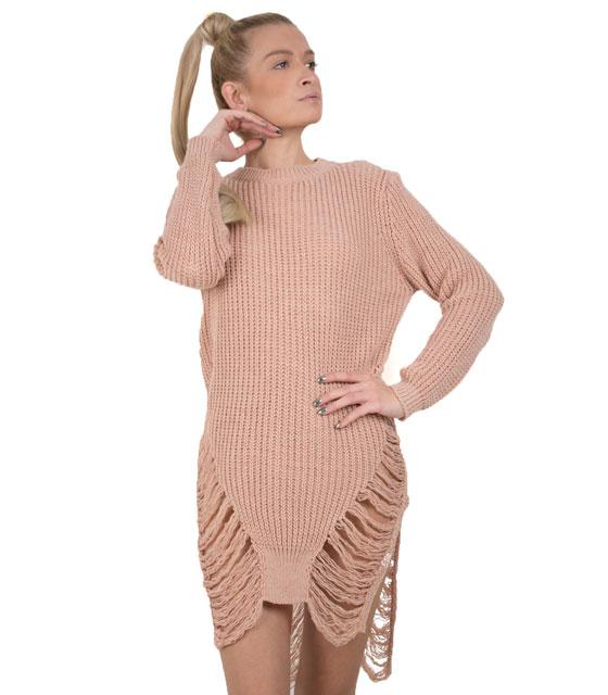 Πλεκτό μακρυμάνικο φόρεμα με σκισίματα (Ροζ)