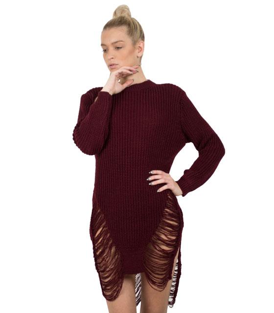 Πλεκτό μακρυμάνικο φόρεμα με σκισίματα (Μπορντό)
