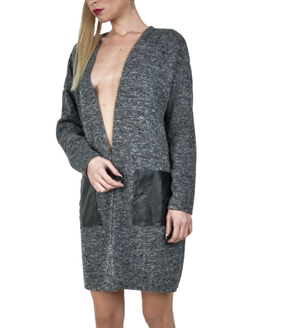 Knitted cardigan with faux leather details Dark Grey