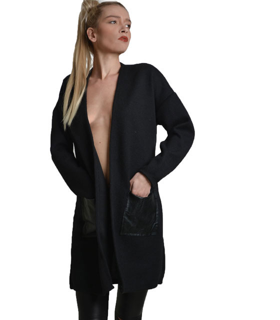 Knitted cardigan with faux leather details Black