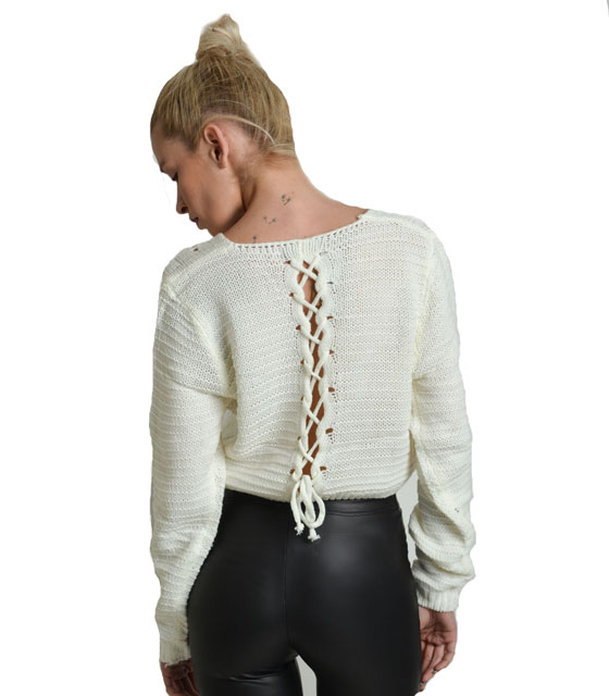 Lace up back knitted top White