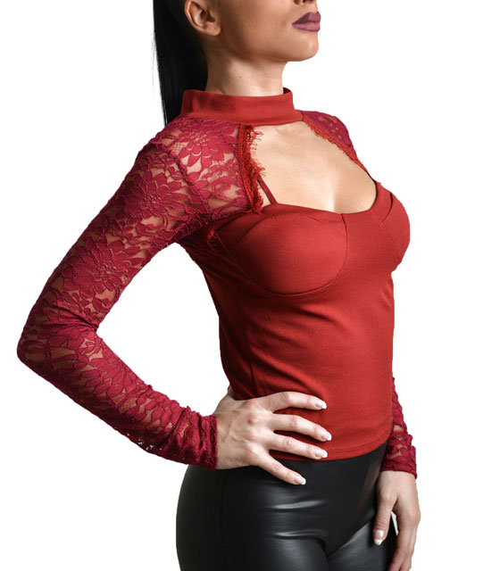 Lace sleeve top Burgundy