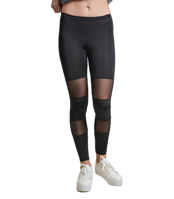 Legging with mesh details Black