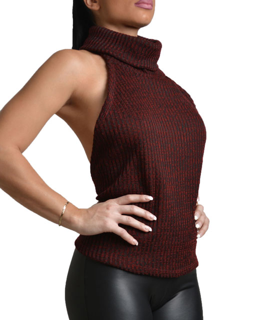 Knitted open back sleeveless top Burgundy