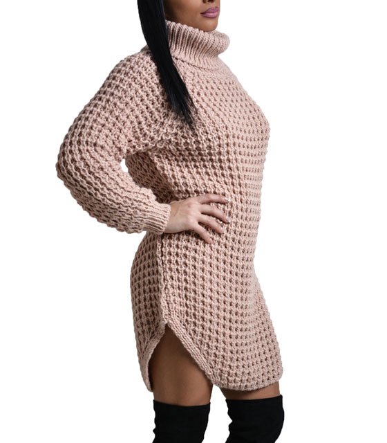 Turtle neck knitted dress Pink