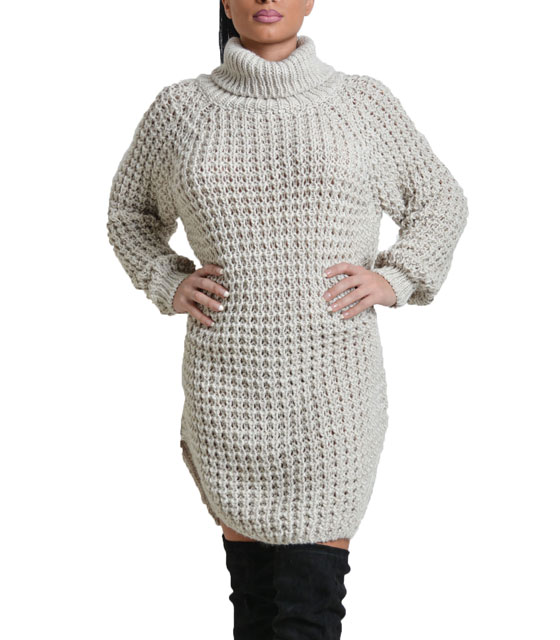 Turtle neck knitted dress Beige