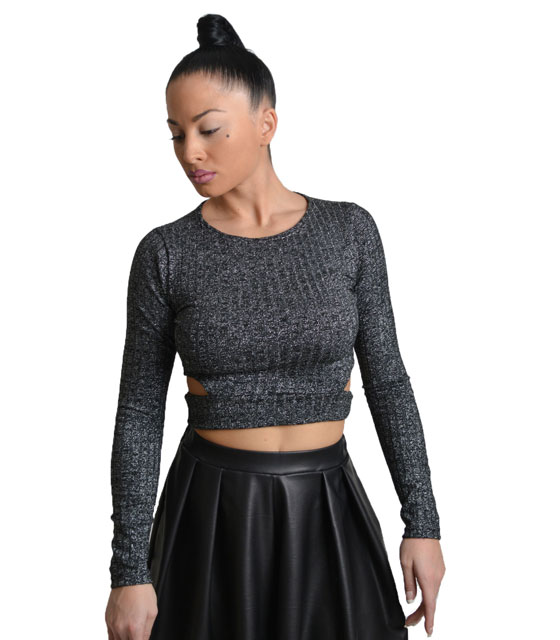 Side cut crop top Black