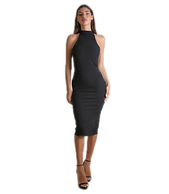 Midi αμάνικο εφαρμοστό φόρεμα Μαύρο