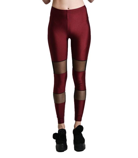 Legging with mesh details Burgundy